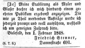 Maler Bielefeld: Johann Friedrich Stenner gründet bereits 1848 den Malerbetrieb