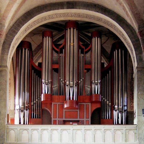 Maler Bielefeld, Denkmalpflege: Ev. St.-Petri-Kirche zu Soest, Gestaltung und Ausmalung der neuen Späth-Orgel durch Stenner und Keitel