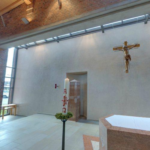 Maler Bielefeld, Denkmalpflege: Stucolustro an der Altarwand in der Kath. St. Hedwigkirche in Steinhagen durch Stenner und Keitel