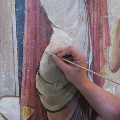 Maler Bielefeld, Denkmalpflege: Restaurierung von Wandmalerei im Schloss Hüffe durch Stenner und Keitel